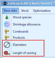 Preset diameters and length of sawlog for optimization process